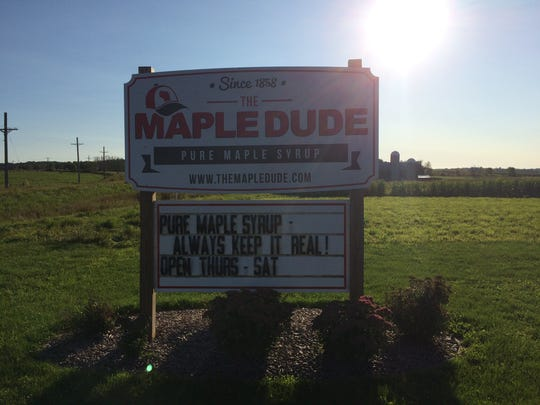 The Maple Dude sign outside of his store on State 10 in the Town of Lynn.