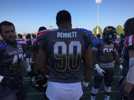 Wayne State defensive lineman wear the Medal of Honor commemorative jersey on Saturday, Sept. 16, 2017, at Tom Adams Field.