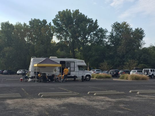The parking lot at the Hawkeye Softball Complex off
