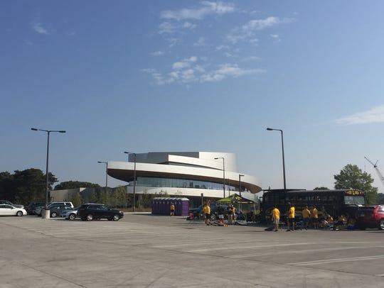 Hancher Auditorium's parking lot features free parking