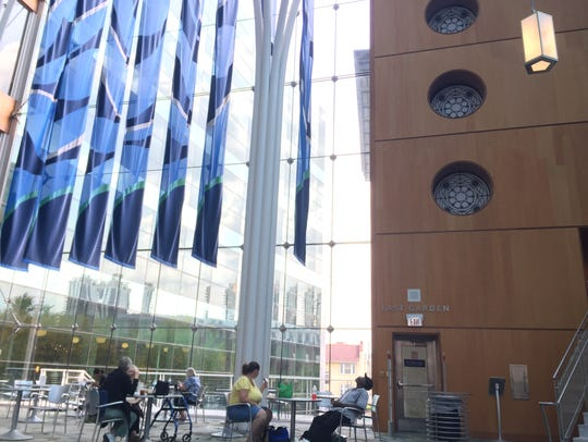 The cable-net glass wall at the Central Library can