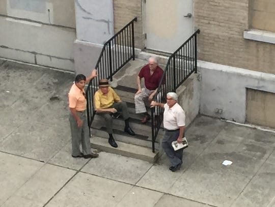"The cast and crew of ""The Irishman"" shot scenes Sunday"