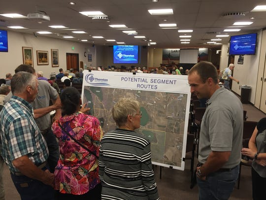 About 150 people attended a meeting about Thornton's water project Sept. 12 at the Larimer County Courthouse Office Building in Fort Collins.