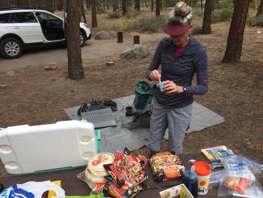Neenah Spellman of Topanga Canyon, Calif., prepares