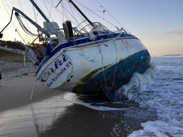 Mysterious sailboat runs aground on Florida beach after Irma