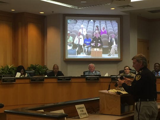 Sheriff Steve Prator spoke at Commission meeting Thursday.