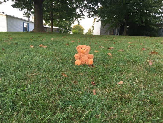 A teddy bear near the scene of the crash that claimed