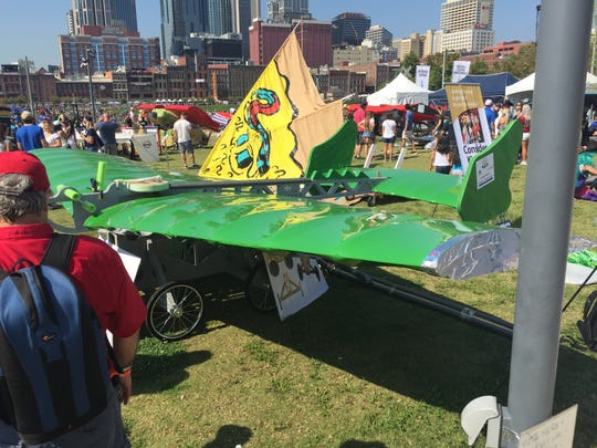 Thirty-six teams, mostly from the Nashville area, designed and built aircraft they hope will coast from a platform over the Cumberland River before falling into the water in Red Bulle's Flugtag event. The previous record in Nashville for this event was 155 feet, set in 2007.