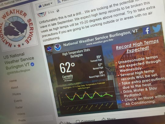 National Weather Service in Burlington posted on its