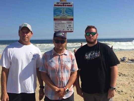 Belmar Water Rescue Team members, from left, Buzz Ciprut,