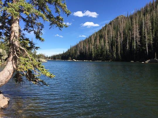 A mountain lake in the Rocky Mountain National Park near Denver in September 2017.