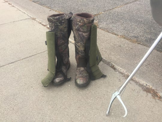 Jeremy Allestad uses snake boots and chaps when he