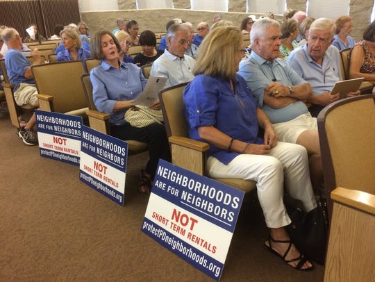 The Palm Desert council chambers was nearly full during a study session on proposed changes to the city's short-term rentals ordinance.