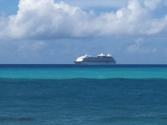 A Webster family spotted a cruise ship in the ocean,