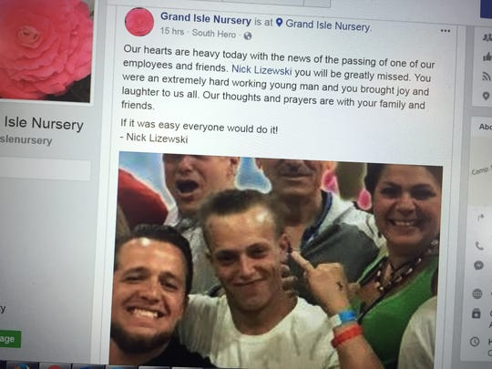 Nick Lizewski, center, was one of two young adults killed in a single-car crash on Vermont 15 in Essex on Tuesday evening. The picture was shared in a Facebook post by his employer, Grand Isle Nursery and Garden Center.