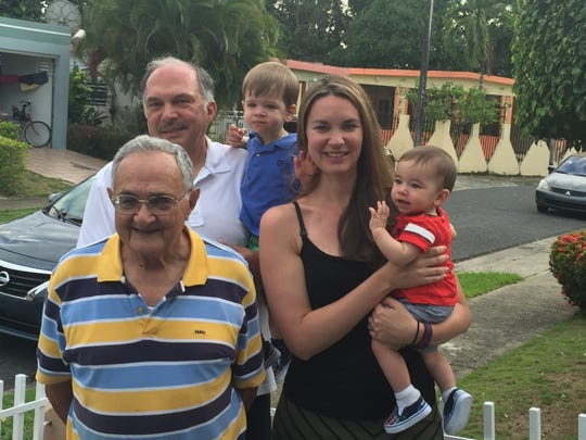 The Melendez family got together in Puerto Rico in March. Pictured are Benigno Melendez (front, left), with his granddaughter Bug Bander, who is holding her son Jacob. Pictured in the back are Carlos Melendez and his grandson Charlie.