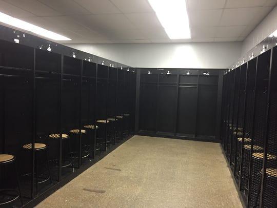 Inside Purdue's visiting team locker room facility.