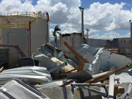 Damage was visible at a San Juan aviation center nine