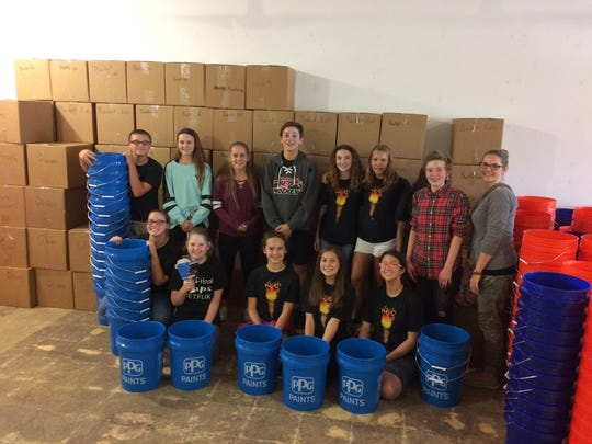 The Pioneer Middle School National Junior Honor Society got in on the Hands 4 Hurricanes relief effort.