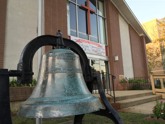 The old brass bell at First United Methodist Church