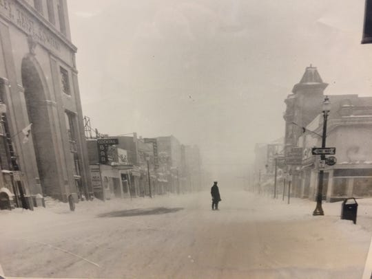 Photo of downtown Hackensack during a blizzard.