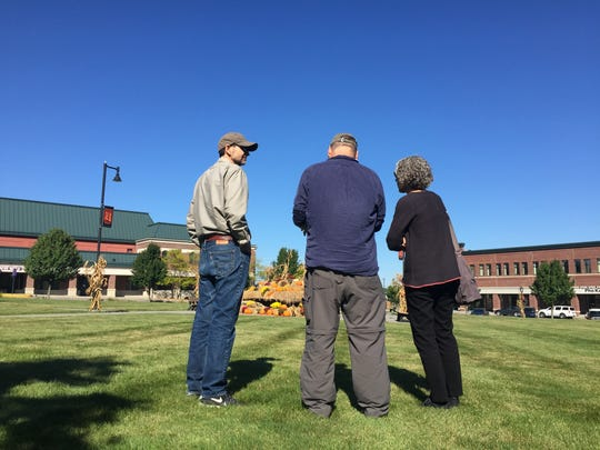Discussion on empty space at Taft Corners Center Square: Urban planning experts on Monday discuss the options. From left to right: Richard Watts, director of The Center for Research on Vermont; Gary Toth, director of the Project for Public Space at New Jersey Department of Transportation; and Burlington-based urban designer Julie Campoli. Photographed Oct. 2, 2017.
