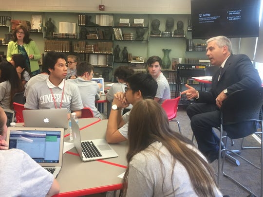James Piccone, the Cumberland County College vice president of academic and student affairs, talked with Vineland students enrolled in the Applied Math and Science Academy on Tuesday. Oct. 3, 2017