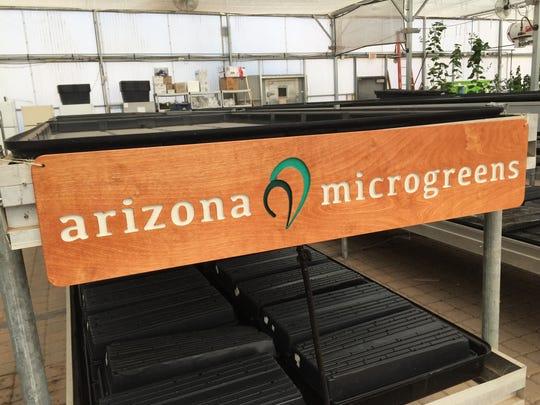 Arizona Microgreens sign hangs in their greenhouse