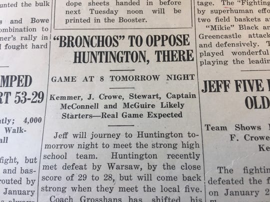 The Booster, Lafayette Jeff's school newspaper, put Bronchos in quotation marks in its Feb. 7, 1924, edition, one of the earliest headlines to mention the school's new mascot. Two seasons earlier, coach Fritz Grosshans coined the name when he called his players a bunch of fighting bronchos.
