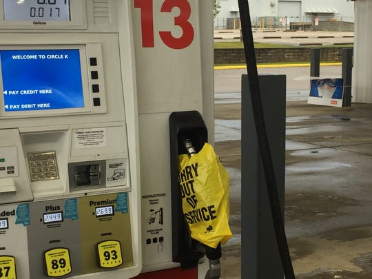 Many Coast stations were out of gasoline by Saturday afternoon as Hurricane Nate was heading in.