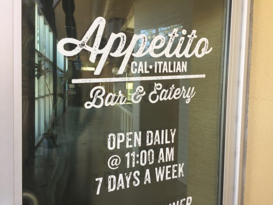 The entrance of Appetito Cal-Italian Bar & Eatery in Palm Springs. The furniture had been cleared from the space as of Thursday afternoon.