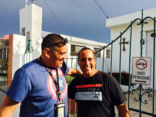 News columnist John A. Torres reconnects with cousin Raymond Ramos in Mayaguez, P.R. weeks after Hurricane Maria. Ramos said he is only working part-time as his employer struggles with power and water issues.