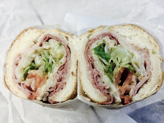 """A wreck"" toasted sub from Potbelly Sandwich Shop in"