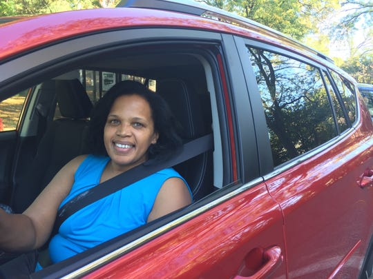 Diahann Smith-Roberts of Spring Valley sits in traffic