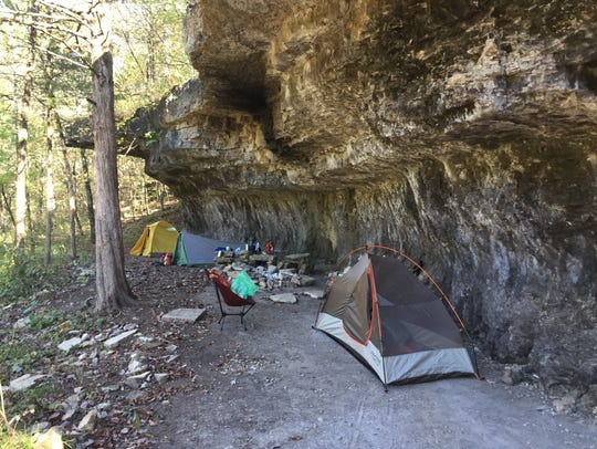 A rock overhang provided a protected place to pitch