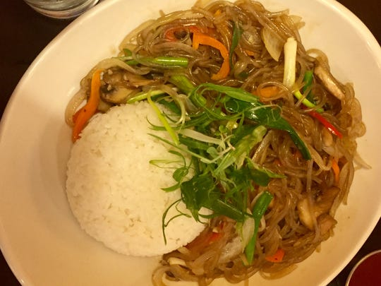 Japchae at Arario Korean Fusion in Midtown Reno features sweet potato starch noodles.