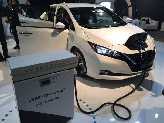 The 2018 Nissan Leaf was on display at Cobo Center in Detroit on Sept. 6, 2017. The latest version of the Leaf electric vehicle can travel 150 miles on a charge.
