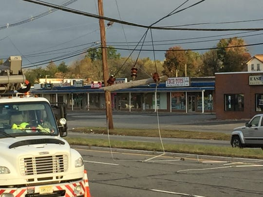 Downed power lines caused heavy delays near Route 46 Friday morning.