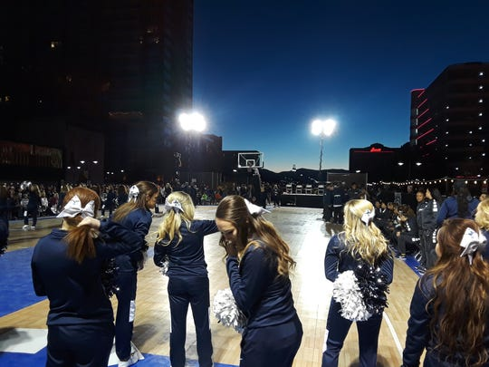 Nevada basketball Arch madness in downtown Reno on Saturday.