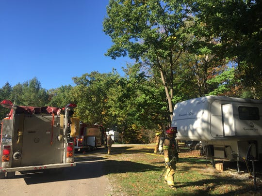 A camper was damaged in a fire Monday morning.