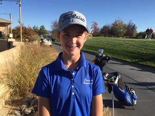 Northern 4A Region champion Karen Beglin is tied for 18th at state with an 82 on Monday.