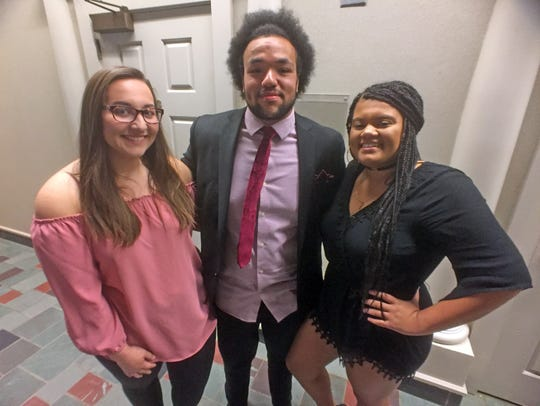 From left, Buena Vista University students Alyssa Donnelly, Davonte Johnson and Alyssa Parker participated in a forum Oct. 16 that addressed national anthem protests on campus and beyond. All three students took a knee during the national anthem at the college's Sept. 30 homecoming football game.