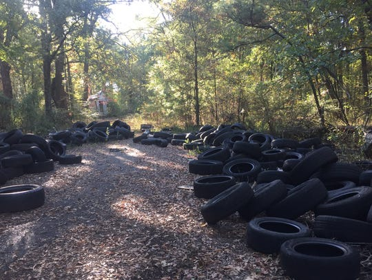 Hundreds of tires dumped illegally near adjudicated