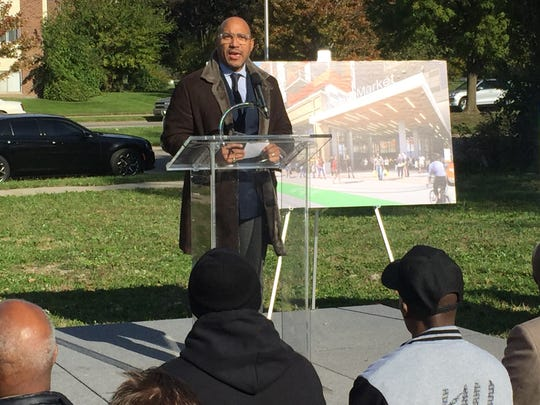 Dennis Archer Jr. of East Jefferson Development Co. LLC speaks at the announcement of a new development in Detroit on Thursday.