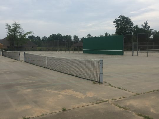 The Caddo Magnet tennis courts prior to the recent