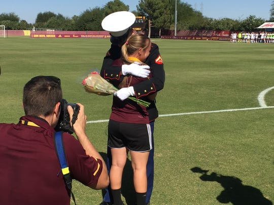 ASU soccer forward Aly Moon saw her Marine brother Derek for the first time in a year and a half Sunday during Senior Day.