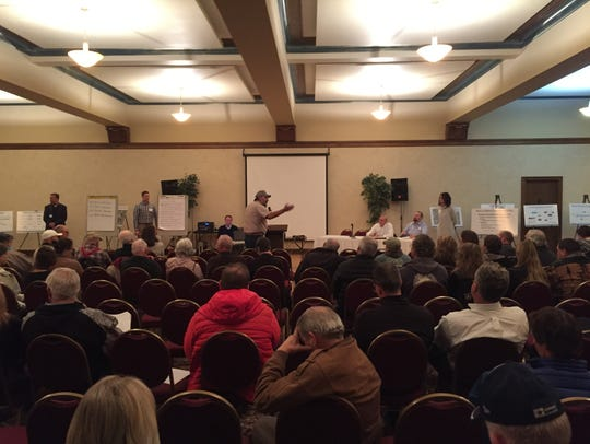 About 30 people testified during a Great Falls meeting on a proposed copper mine in 2018.