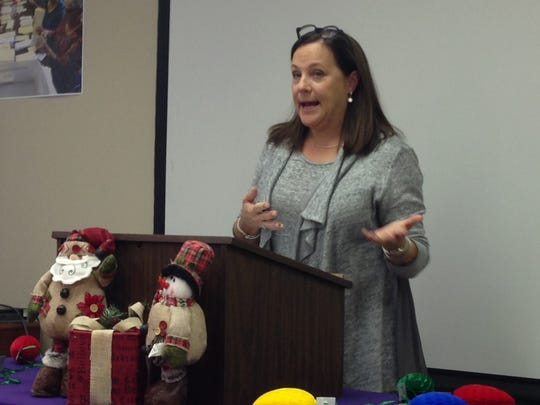 Shelia Reynolds speaks Tuesday about her Hospice experience when her mother passed away, during the Tree of Lights Kickoff Luncheon Tuesday at Hospice of Wichita Falls. This year's campaign goal is to raise $200,000.