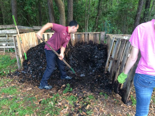 Microorganisms break down nitrogen and carbon based organic materials to create finished compost.