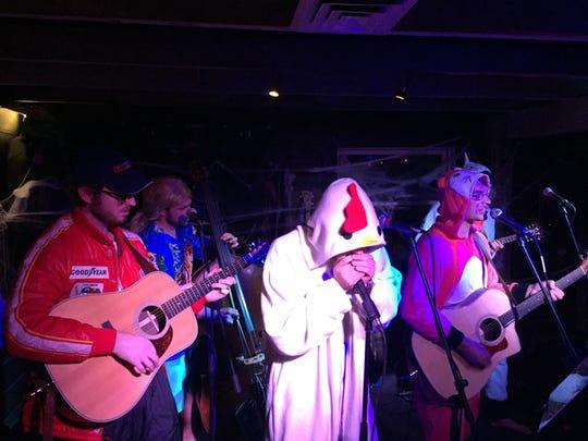 The Tenderbellies, in full Halloween regalia, performed Friday night at Zenbarn in Waterbury Center.